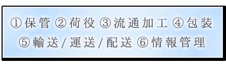 1.保管 2.荷役 3.流通加工 4.包装 5.輸送・運送・配送 6.情報管理